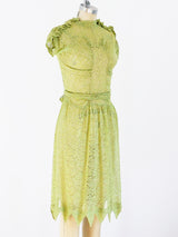 1930's Lime Green Lace Dress