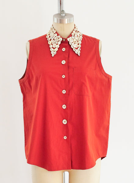 Romeo Gigli Shell Embellished Sleeveless Top