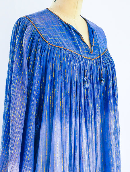 1970's Dip Dyed Cotton Gauze Indian Dress