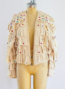 Rhinestone Embellished Fringe Canvas Jacket