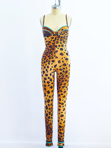 Leonard Paris Leopard Stretch Unitard