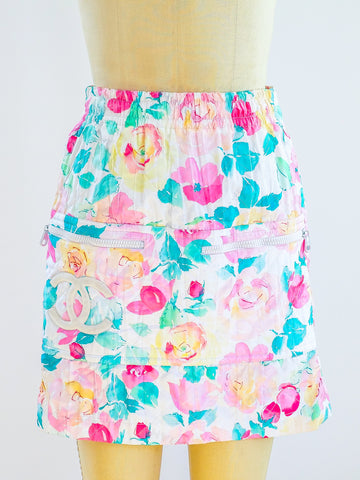 Chanel Quilted Floral Mini Skirt