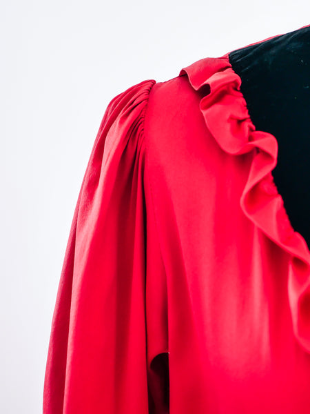 Yves Saint Laurent Red Silk Dress