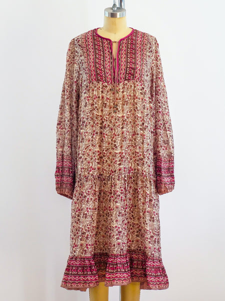 1970's Block Print Cotton Gauze Indian Dress