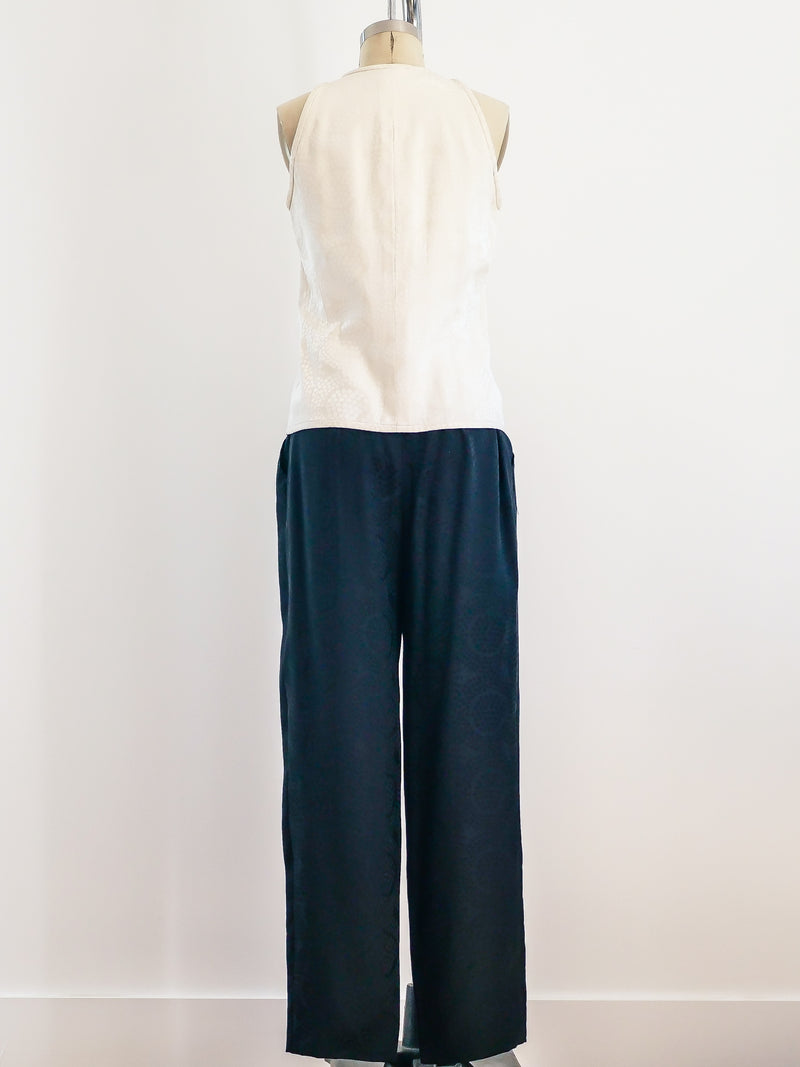 Valentino Black and White Silk Pant with Sleeveless Top