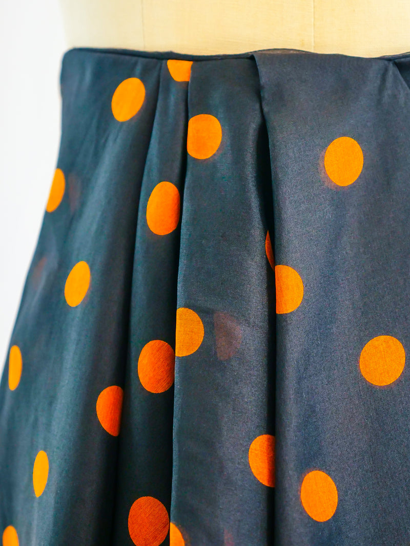 Christian Dior Couture Polka Dot Pleat Front Skirt