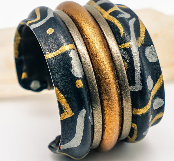 Hand Painted Leather Wrap Cuff Bracelet