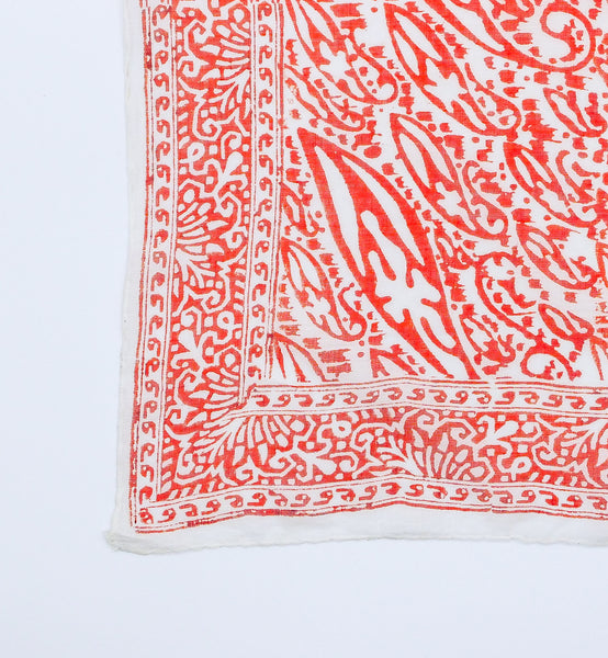 Red Paisley Block Print Indian Handkerchief