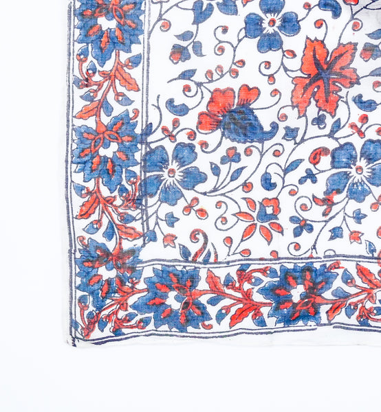 Indigo and Red Floral Block Print Indian Handkerchief