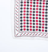 Red and Black Polka Dot Block Print Indian Handkerchief