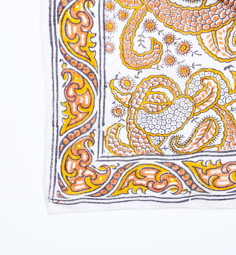 Orange and Yellow Paisley Block Print Indian Handkerchief