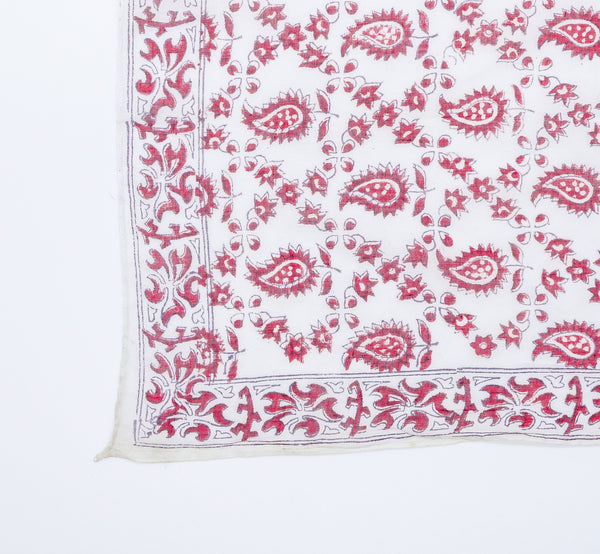Floral Block Print Indian Handkerchief