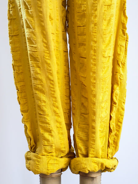 Mustard Cotton Gauze Drawstring Pants