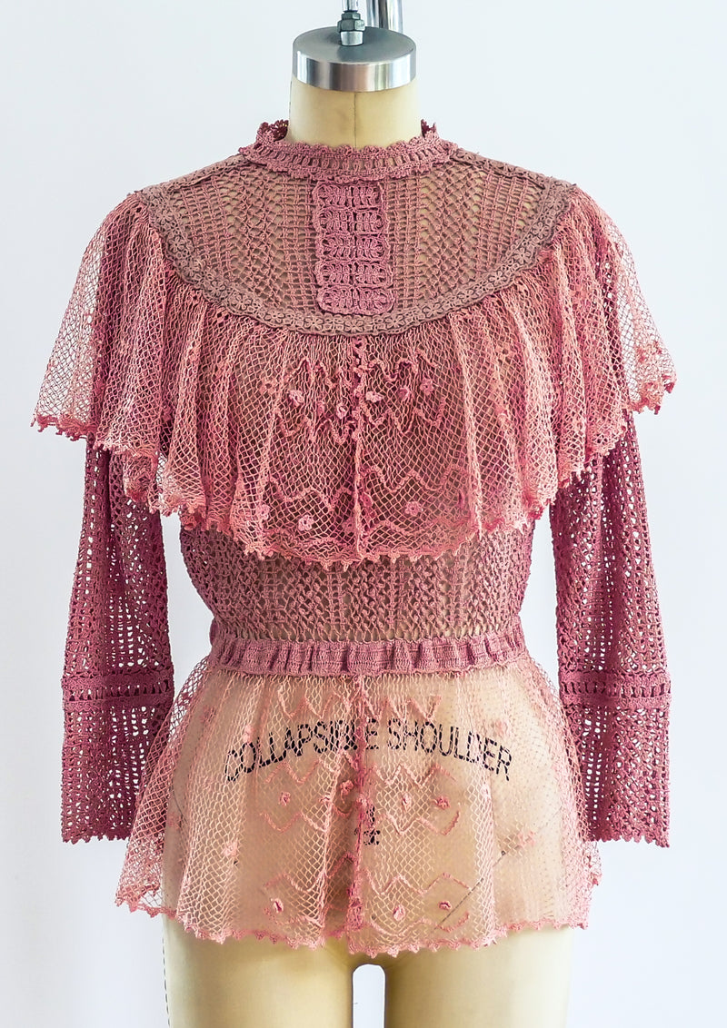 Pink Crochet Victorian Inspired Top