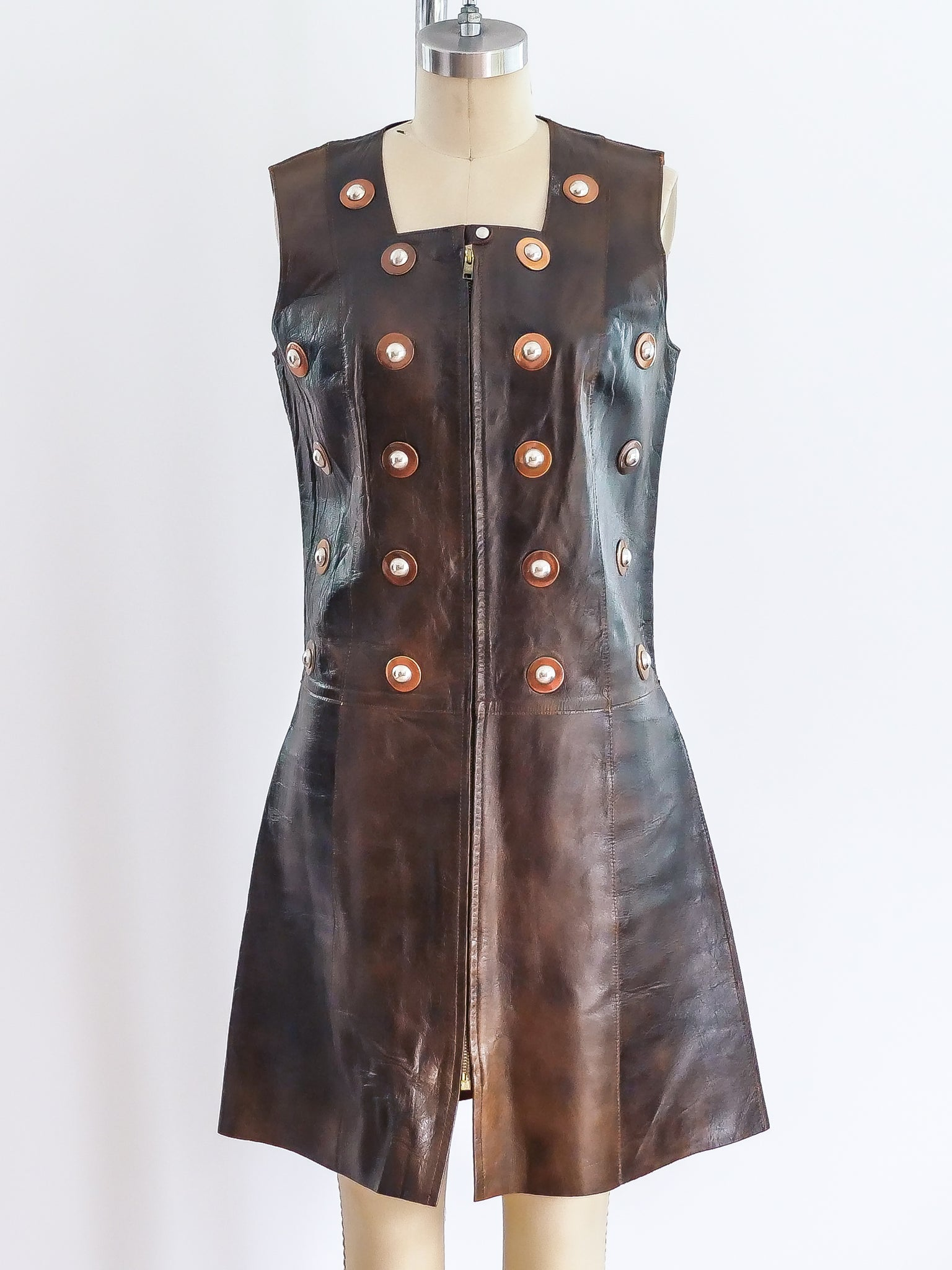 Studded Leather Sleeveless Tunic Dress