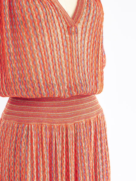 1970's Missoni Orange Knit Dress