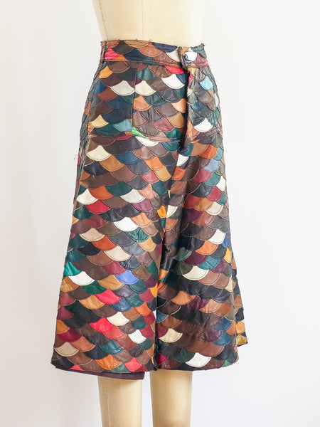 Scalloped Leather Patchwork Gauchos