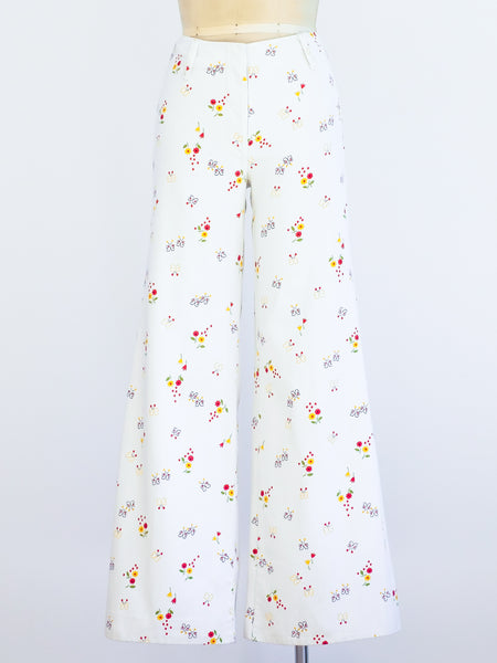 Butterfly and Flower Printed White Flares