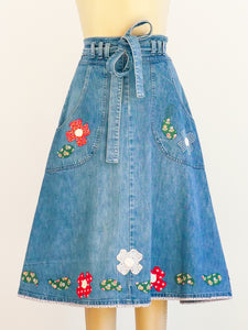 Denim Wrap Skirt with Floral Applique