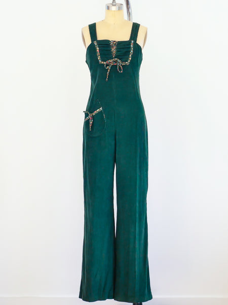Corduory Jumpsuit with Floral Trim