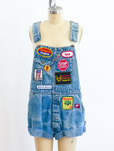 Patched Cutoff Denim Overalls