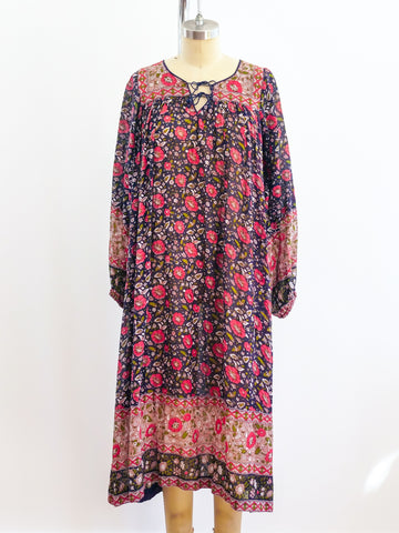 1970's Floral Cotton Gauze Indian Dress