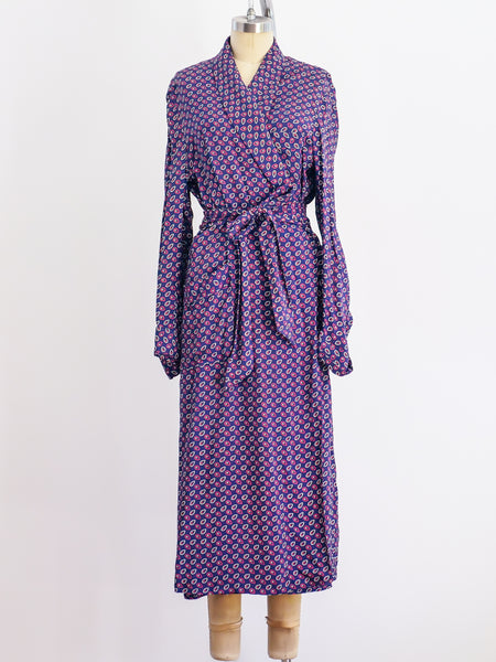 1940's Paisley Printed Belted Rayon Robe