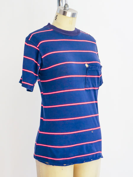 1960's Striped Pocket Tee