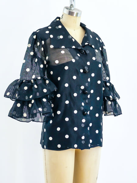Yves Saint Laurent Ruffle Polka Dot Top