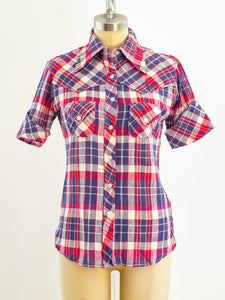 Plaid Cotton Gauze Short Sleeved Western Shirt
