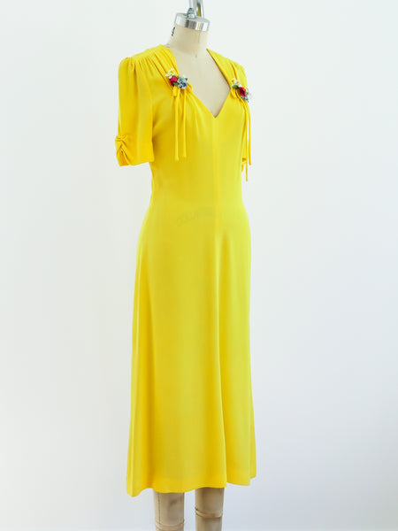 Ossie Clark Yellow Moss Crepe Dress