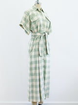 Issey Miyake Gingham Check Shirt Dress