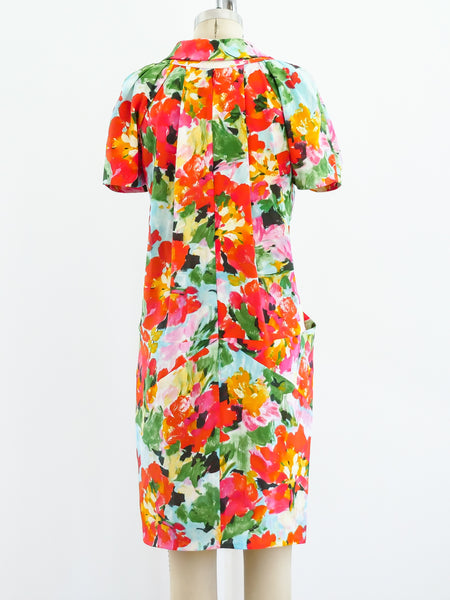 Balenciaga Watercolor Floral Dress