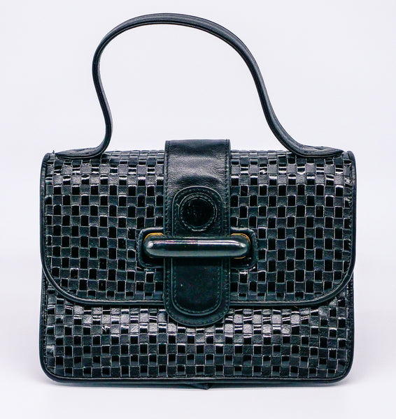 Fendi Woven Leather Top Handle Bag