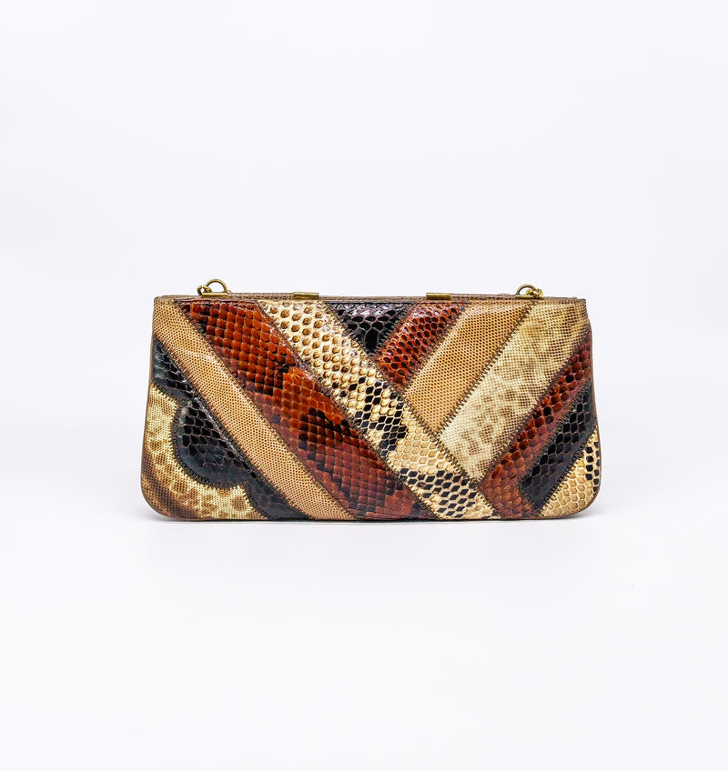 Diagonal Stripe Snakeskin Convertible Clutch