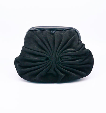 Black Suede Fan Pleat Convertible Clutch