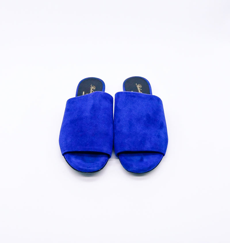 Robert Clergerie Blue Suede Slide Sandals, 37.5