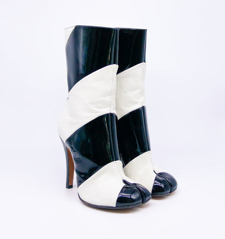 Margiela Striped Stiletto Tabi Boots, 36.5