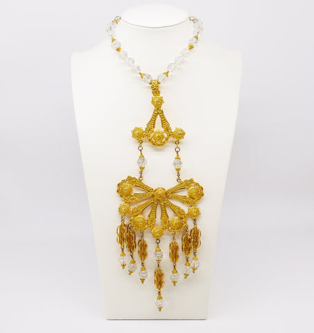Crystal Fringed Pendant Necklace
