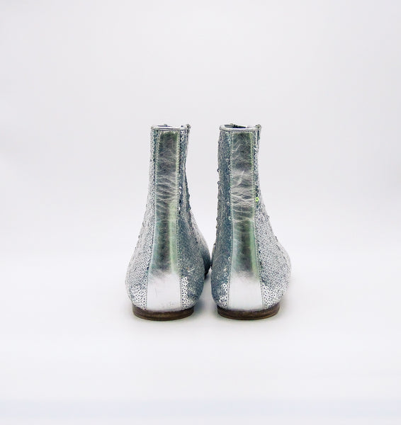 Loewe Silver Sequin Point Toe Bootie, 40