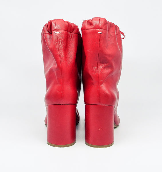 Margiela Red Leather Drawstring Tabi Boots, 39.5