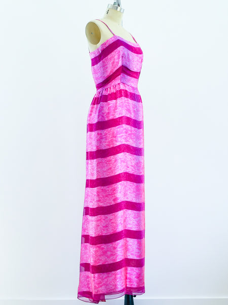 Richilene Pink Silk Maxi Dress