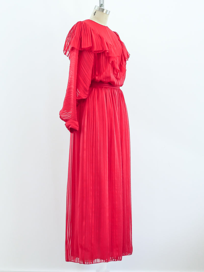 Christian Dior Red Silk Two Piece Set