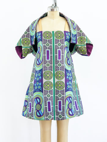 Issey Miyake Brocade Bubble Dress with Shrug