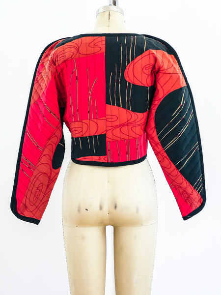 1980's Quilted Silk Cropped Jacket