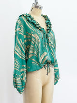 Green Lurex Drawstring Top