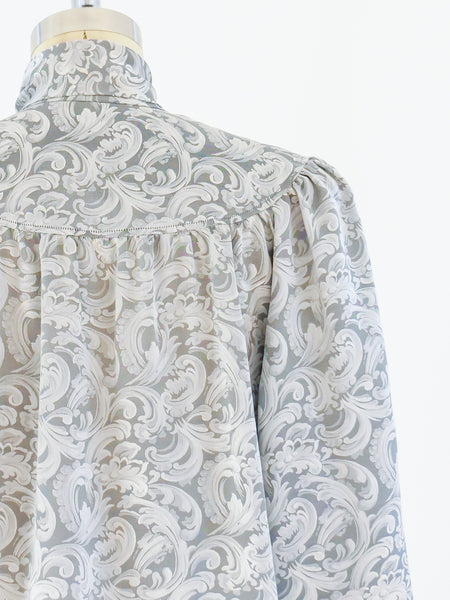 Yves Saint Laurent Silver Jacquard Tie Neck Blouse