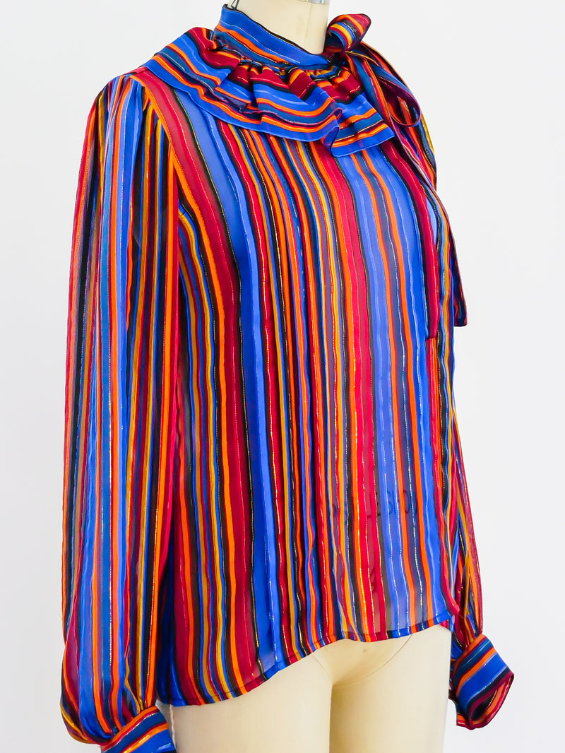 Lurex Stripe Tie Neck Blouse