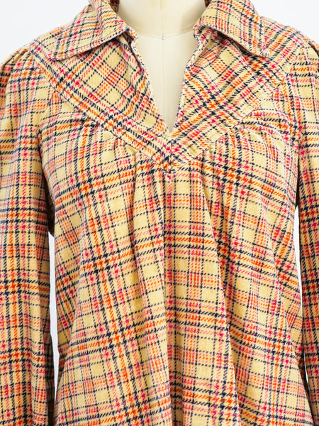 Plaid Chenille Pullover Top
