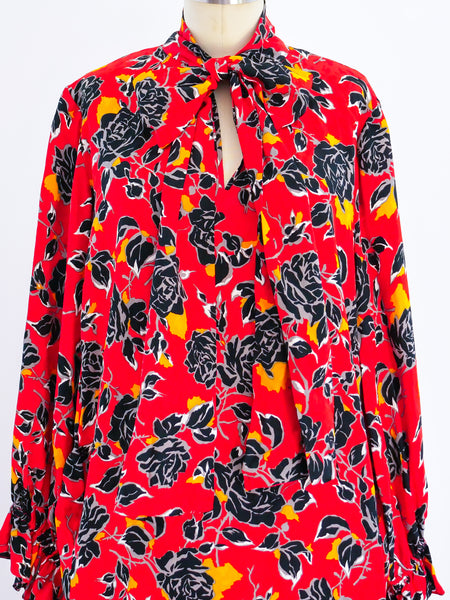 Yves Saint Laurent Rose Print Silk Dress
